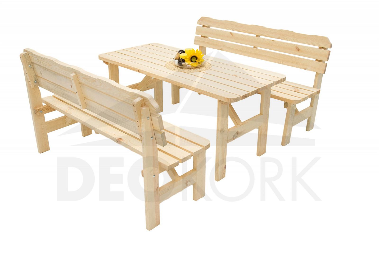 150a40eca877 Masívna drevená záhradná zostava z borovice 1+2 drevo 32 mm