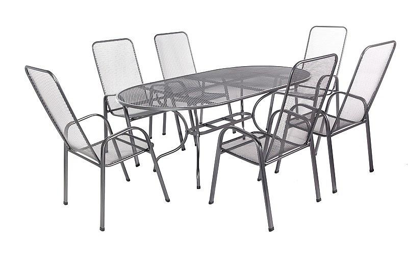 Unikov Záhradná kovová zostava OLIVIE 1+6 Stôl oválný 190x105 cm