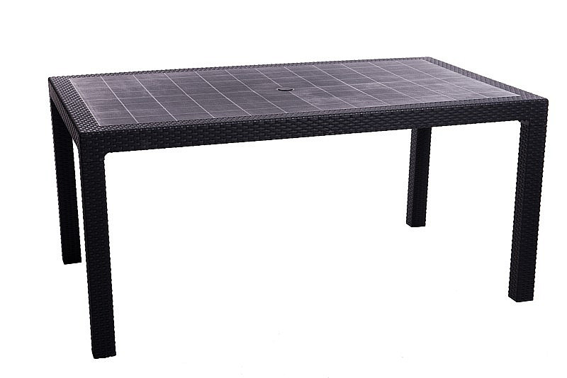 DEOKORK Záhradný stôl z umelého ratanu MANHATTAN 161 x 95 cm (antracit)