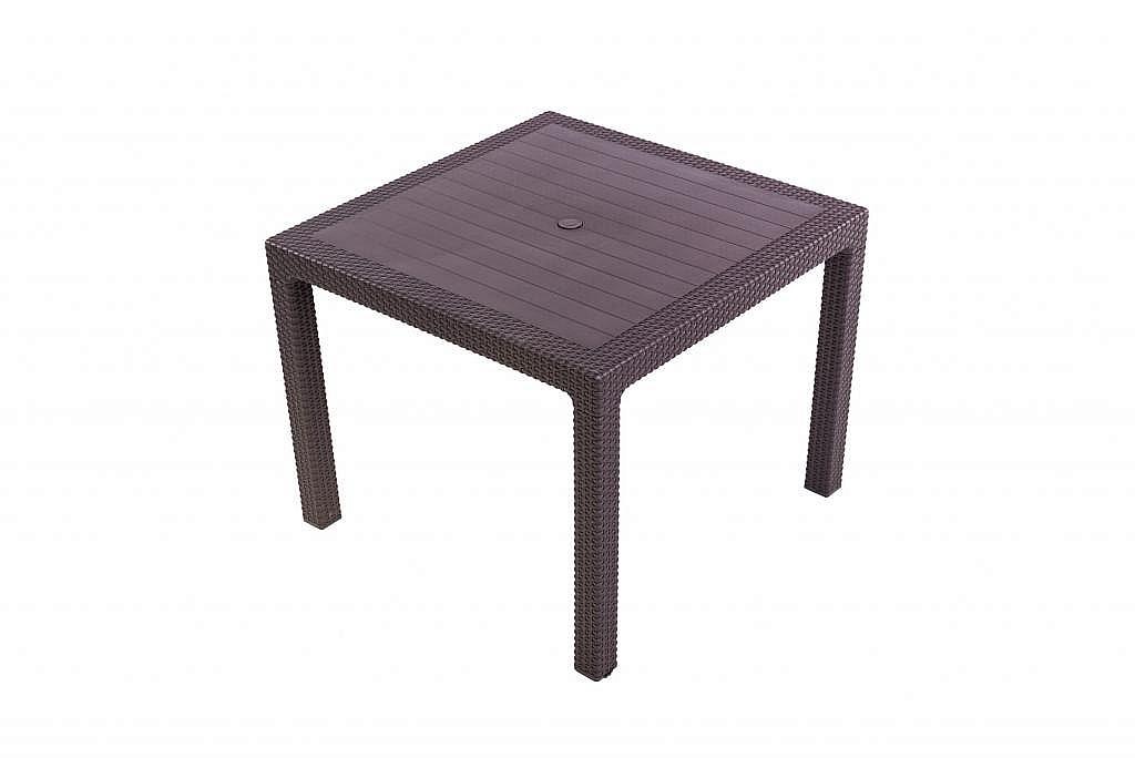 DEOKORK Záhradný stôl z umelého ratanu MANHATTAN 95x95 cm (hnedá)