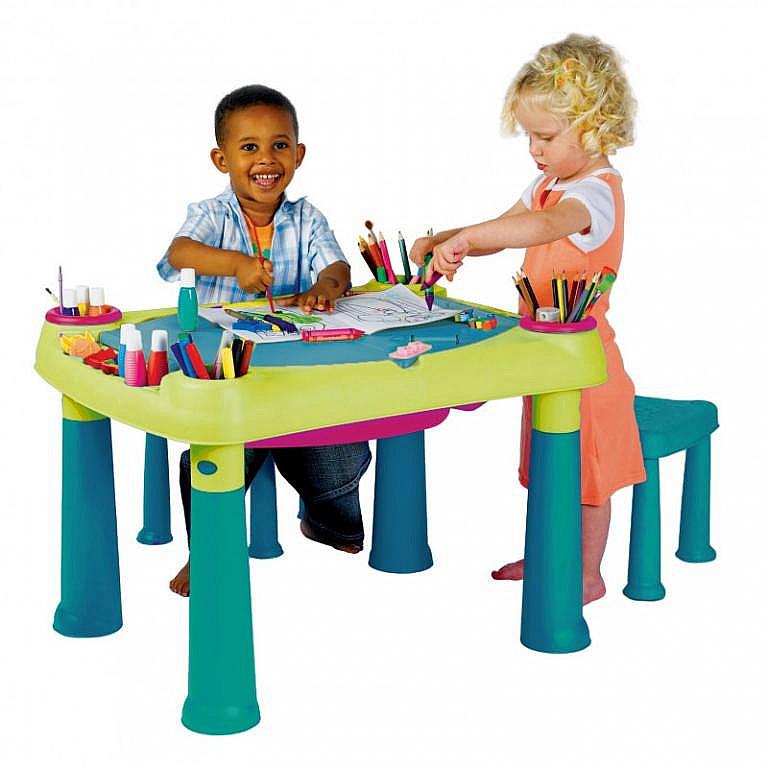 DEOKORK Detský multifunkčný stolík PLAY (modro-zelený)