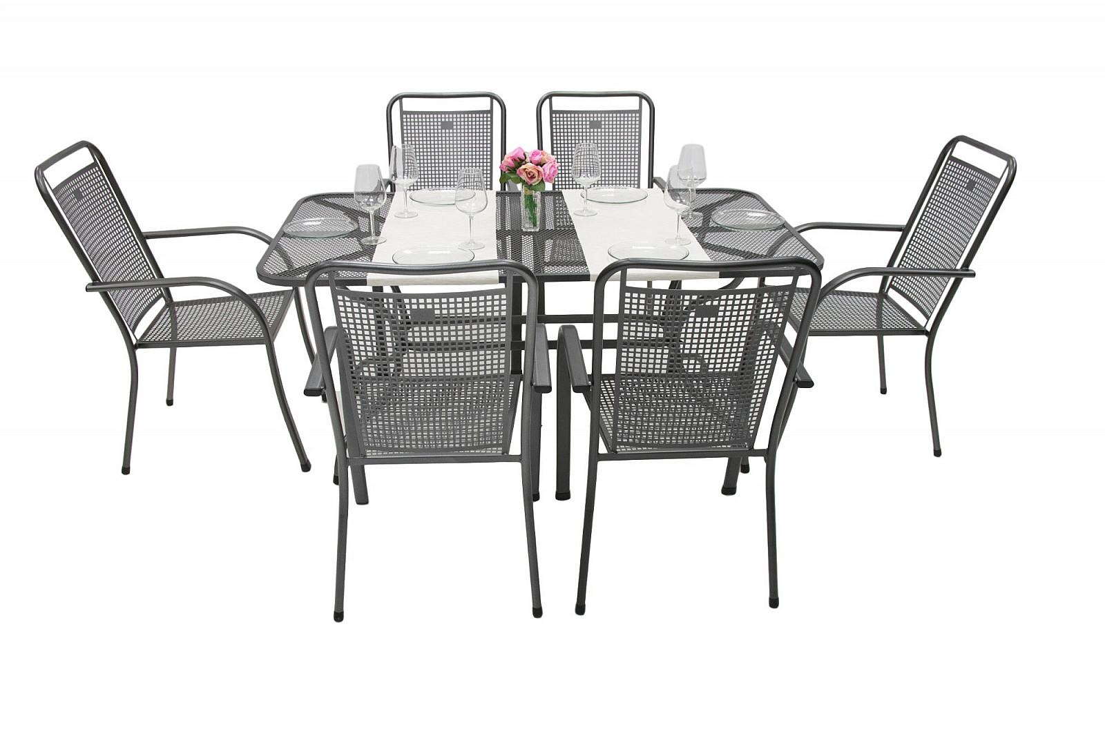 Unikov Záhradná kovová zostava SAVANA I. 1+6 Stôl obdĺžnikový 190x105 cm