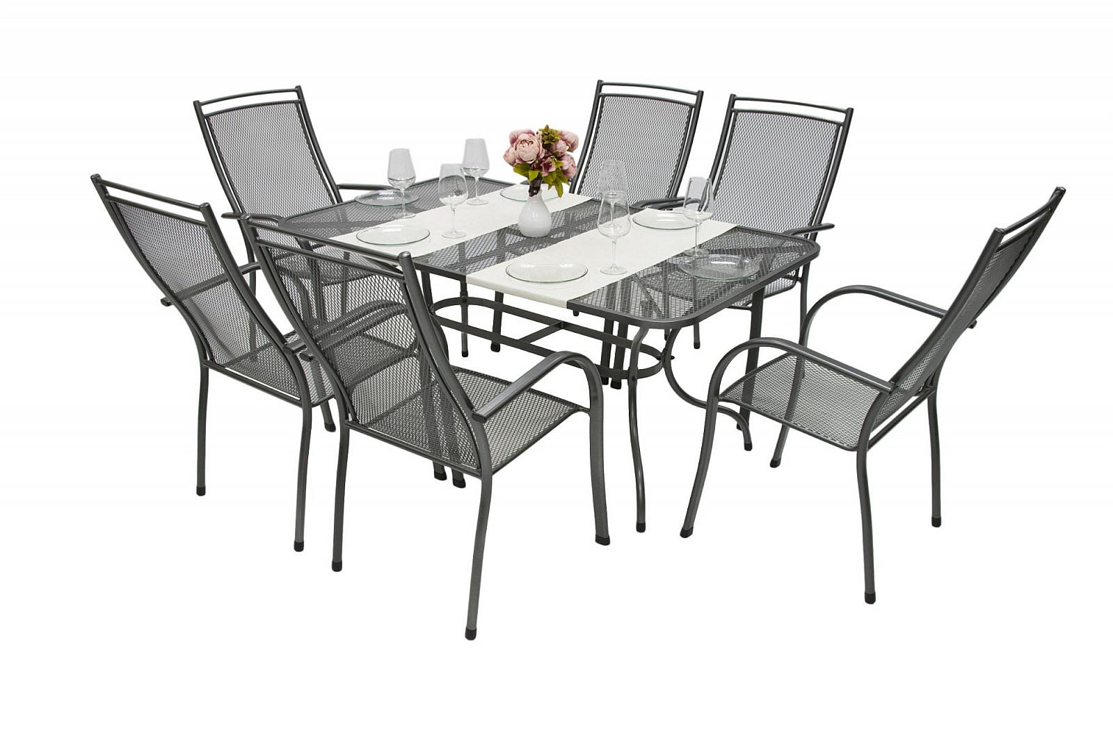 Unikov Záhradná kovová zostava ELTON I. 1+6 Stôl obdĺžník 190x105 cm