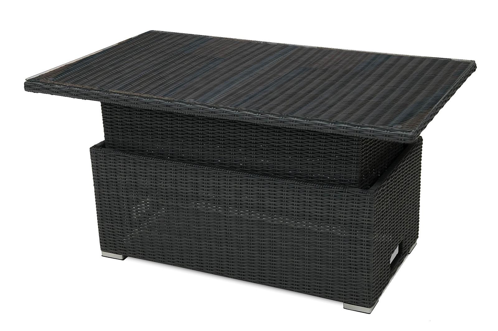 Ratanový stôl výsuvný jedálenský / odkladací 140 x 80 cm SEVILLA (antracit)