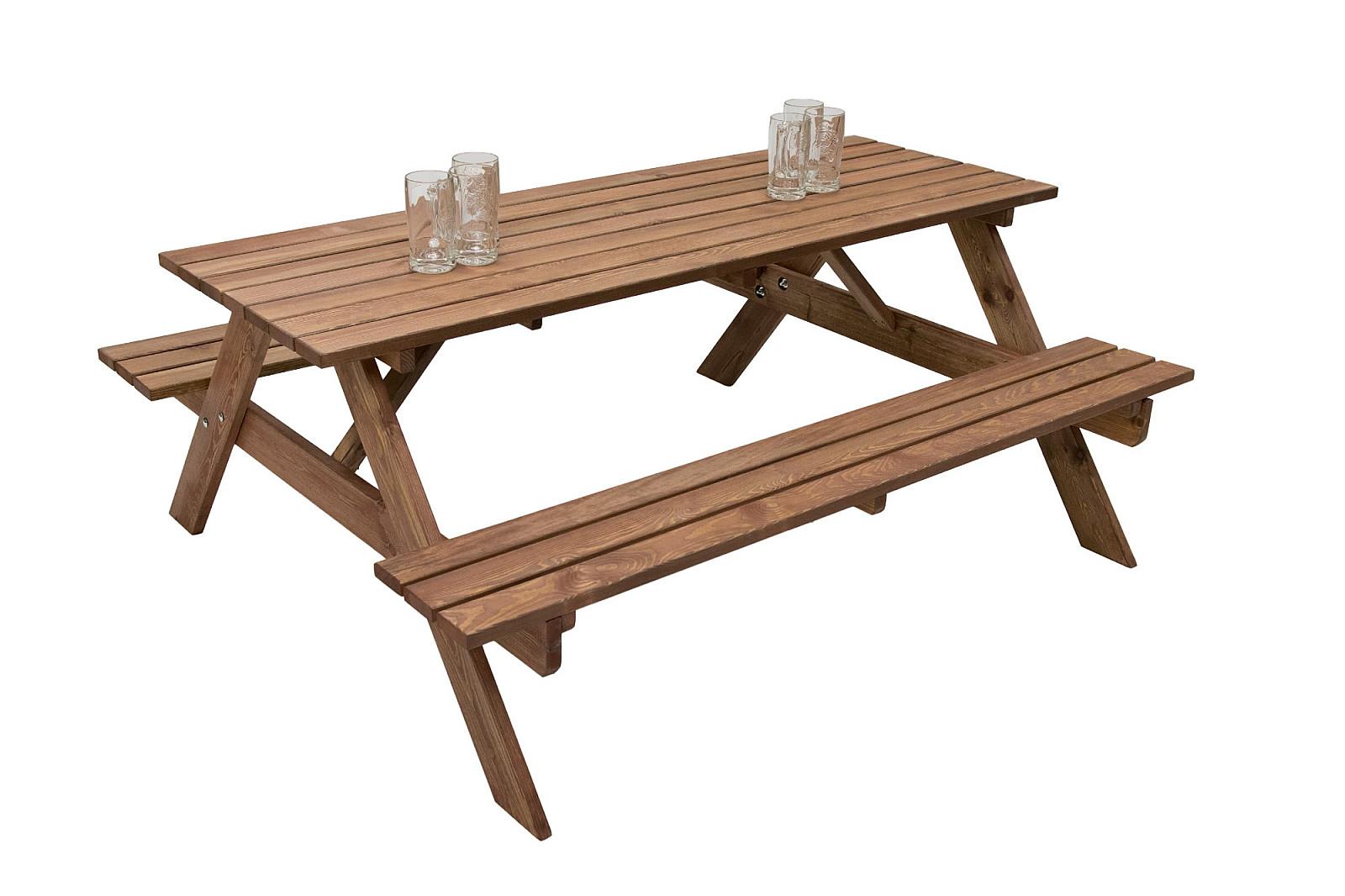 VÝPREDAJ Masívny drevený pivný set z borovice 200 cm hrúbka 30 mm (morený)