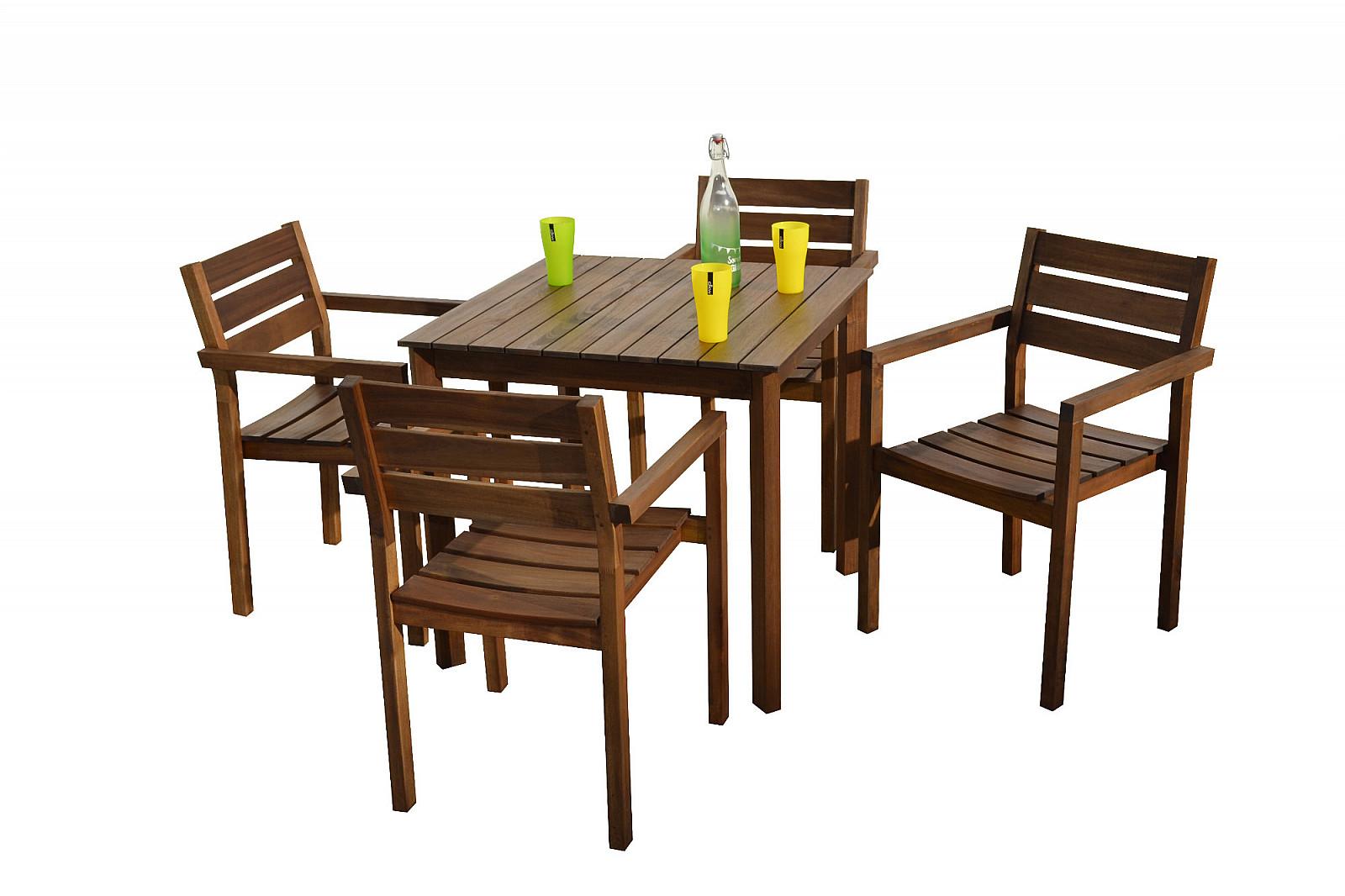 DEOKORK Záhradný nábytok zostava SCOTT 1+4 (hnedá)