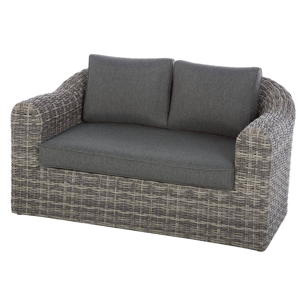 Ratanová lavica pre 2 osoby BORNEO (sivá)