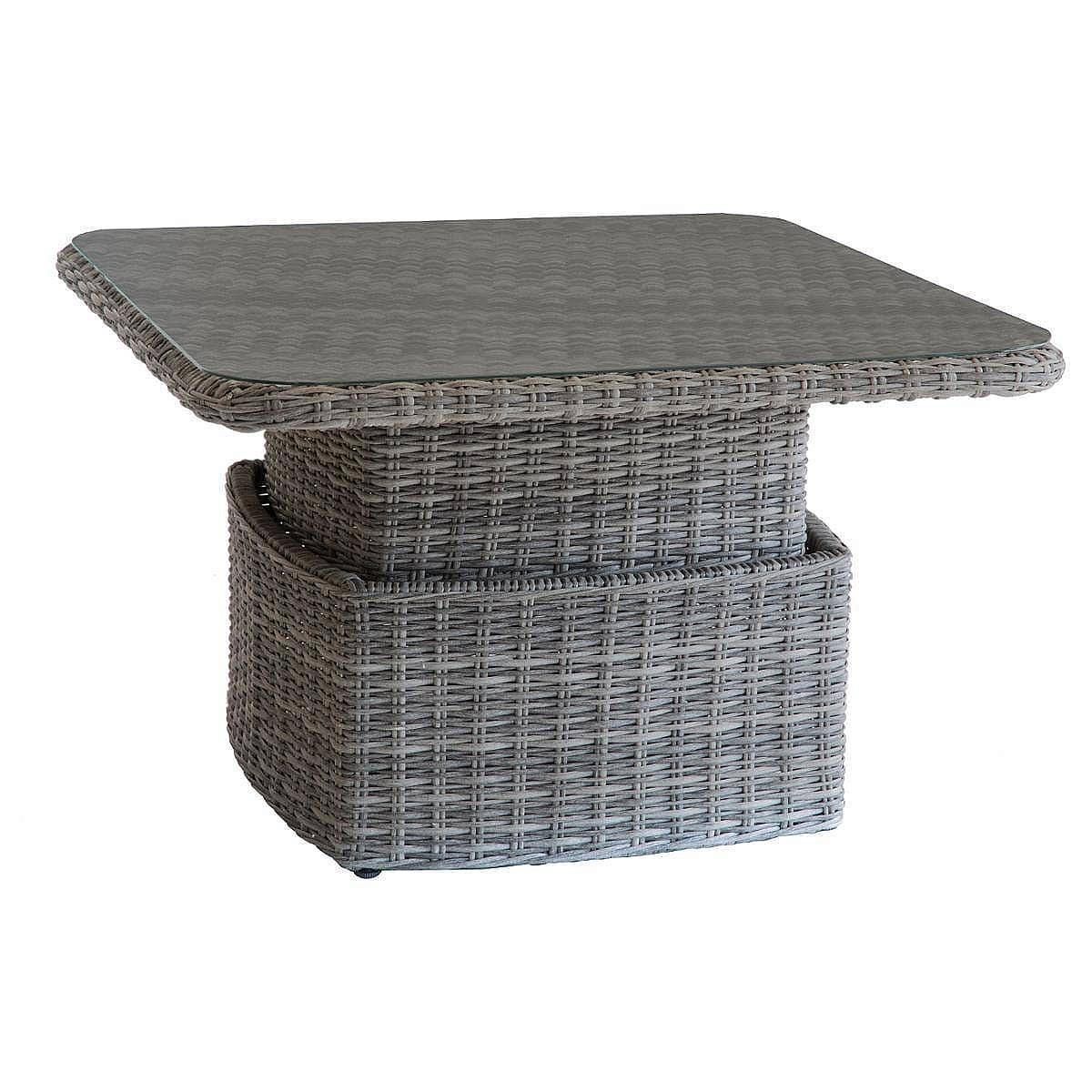 Ratanový stôl výsuvný jedálenský/odkladací 100x100 cm BORNEO (sivá)