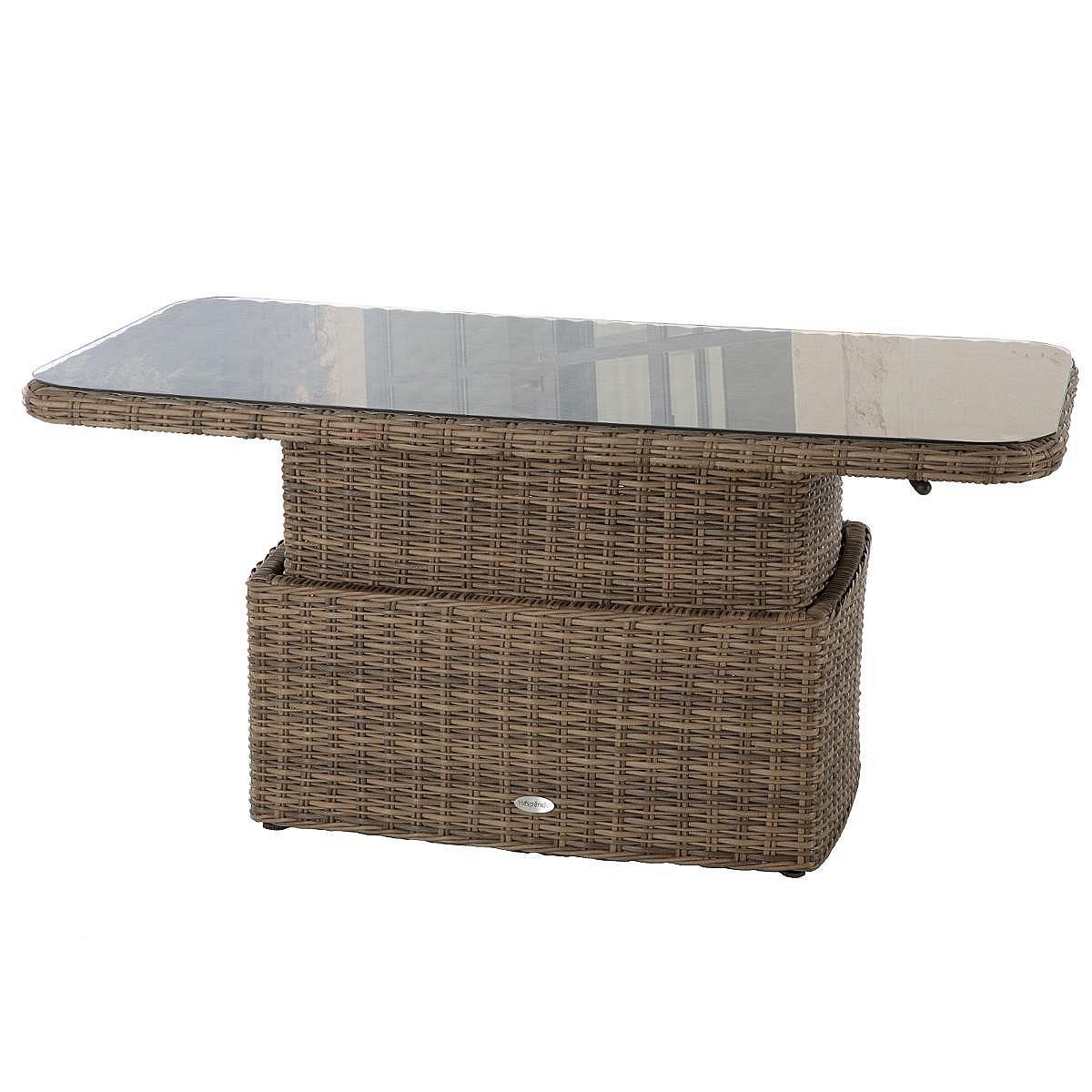 Ratanový stôl jedálenský/odkladací BORNEO 150 x 80 cm (hnedá)
