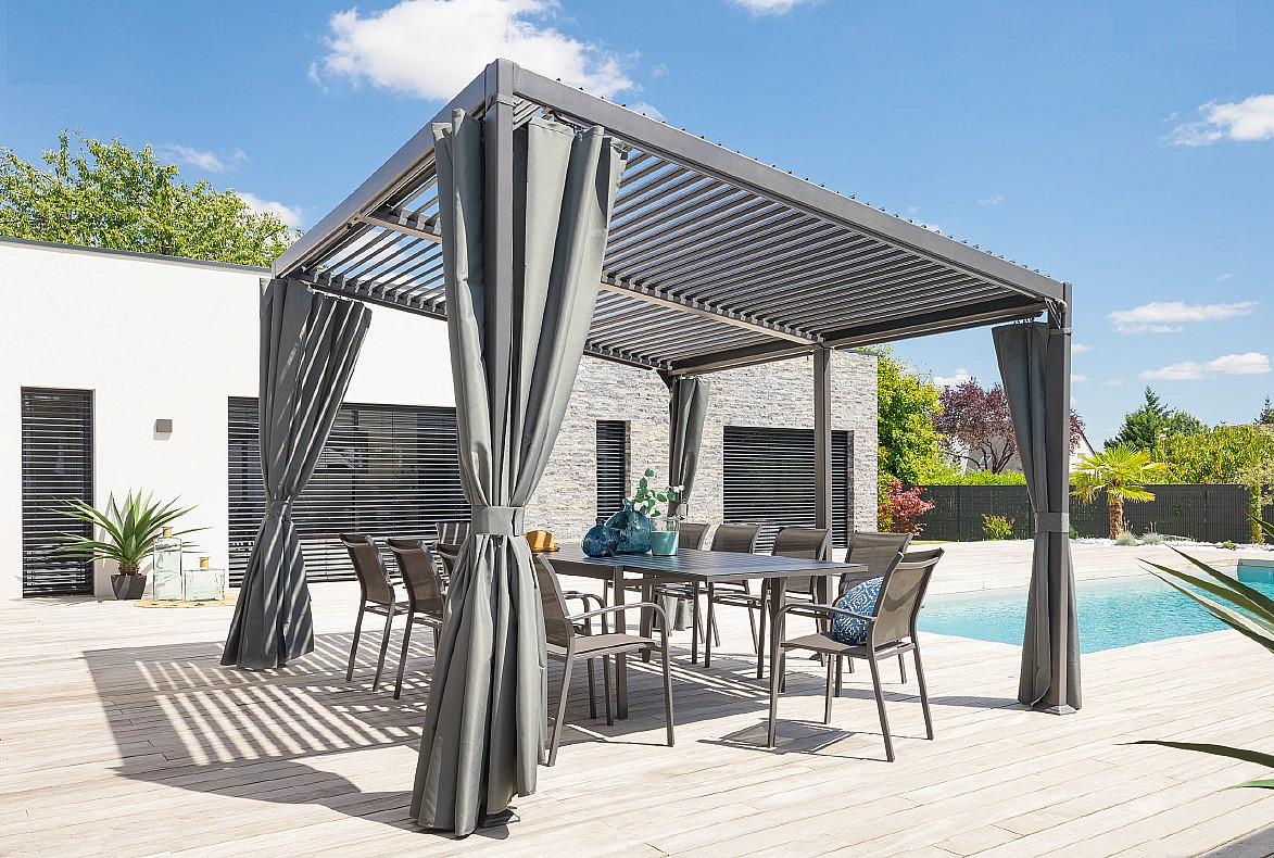 HESPERIDE Záhradný hliníkový altánok LUXURY 4x3 m (grafit)