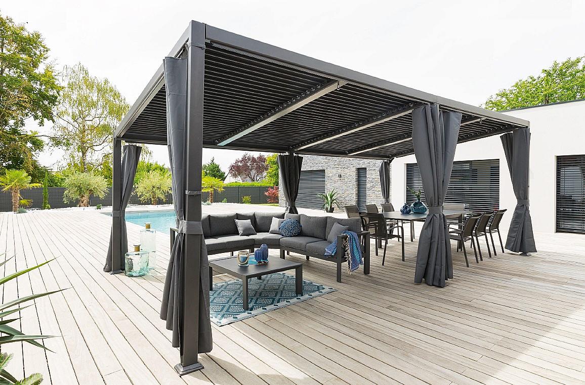 HESPERIDE Záhradný hliníkový altánok LUXURY 7,2x3 m (grafit)