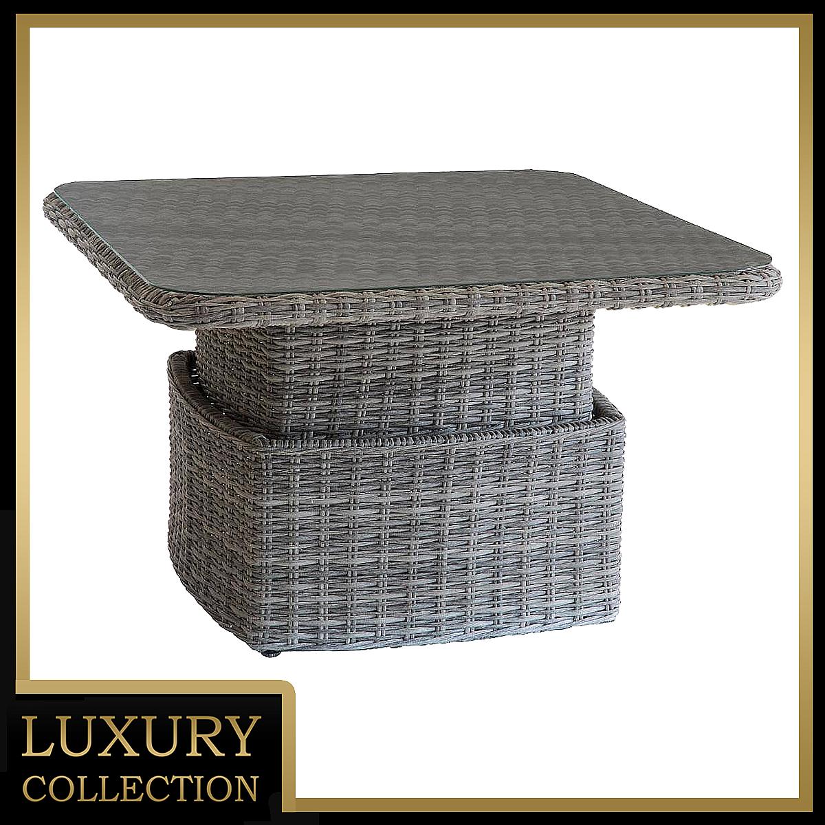 Ratanový stôl výsuvný jedálenský/odkladací 100 x 100 cm BORNEO (sivá)
