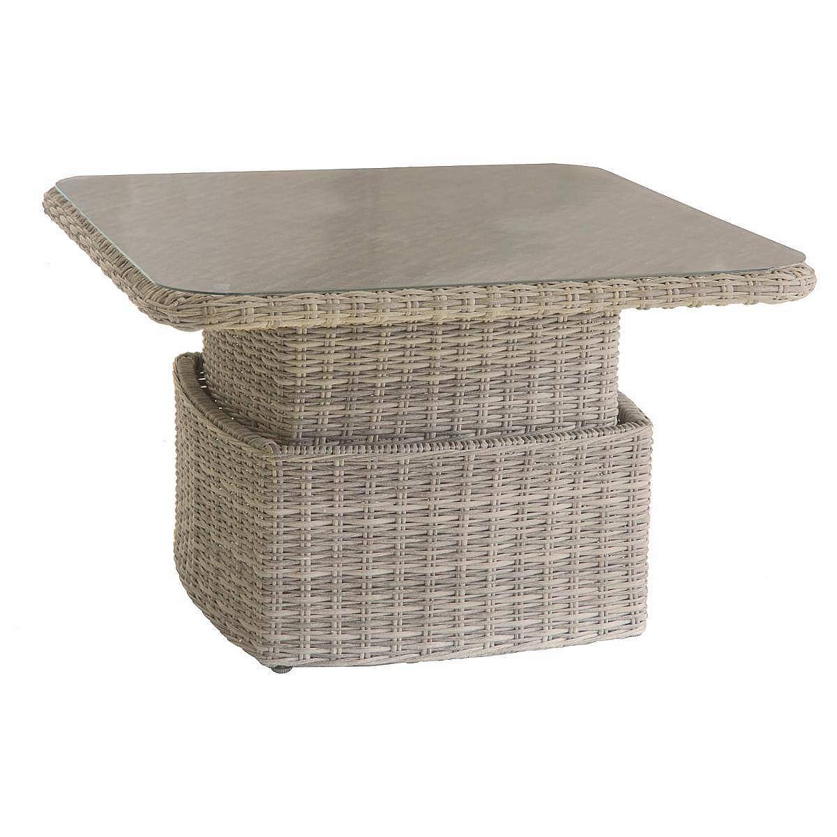 Ratanový stôl výsuvný jedálenský/odkladací 100x100 cm BORNEO (hnedá)