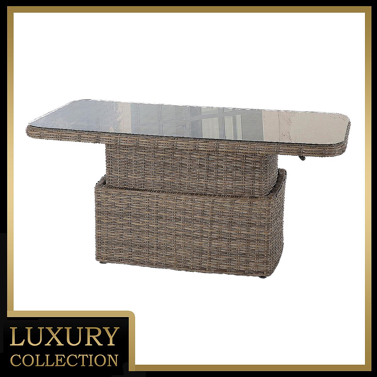 Ratanový stôl výsuvný jedálenský/odkladací 150 x 80 cm BORNEO (hnedá)