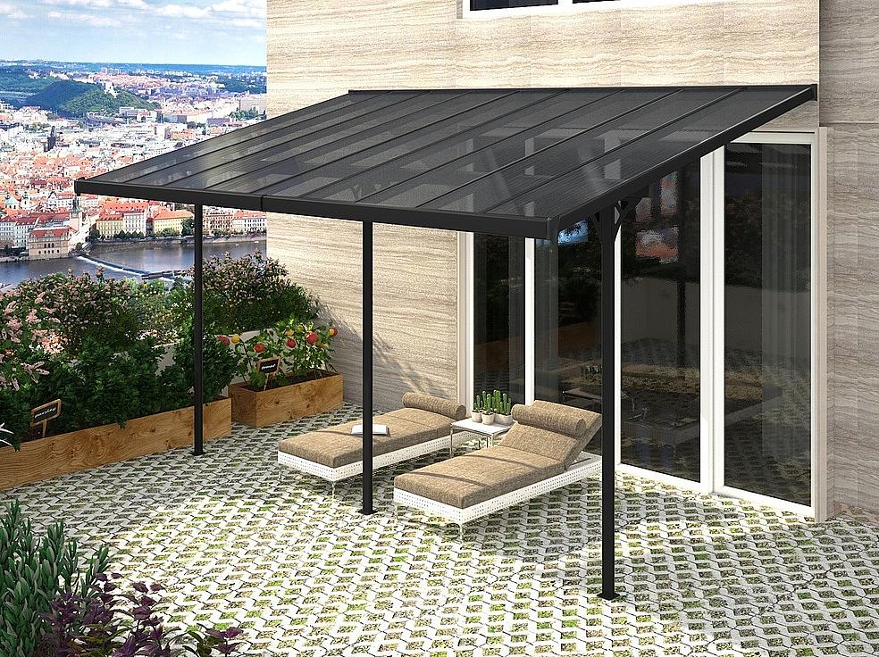 Pergola 557 x 305 cm (čierna + šedý polykarbonát)