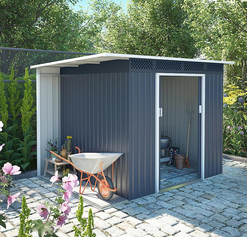 Záhradný domček plocha 257 x 142 cm (šedá)