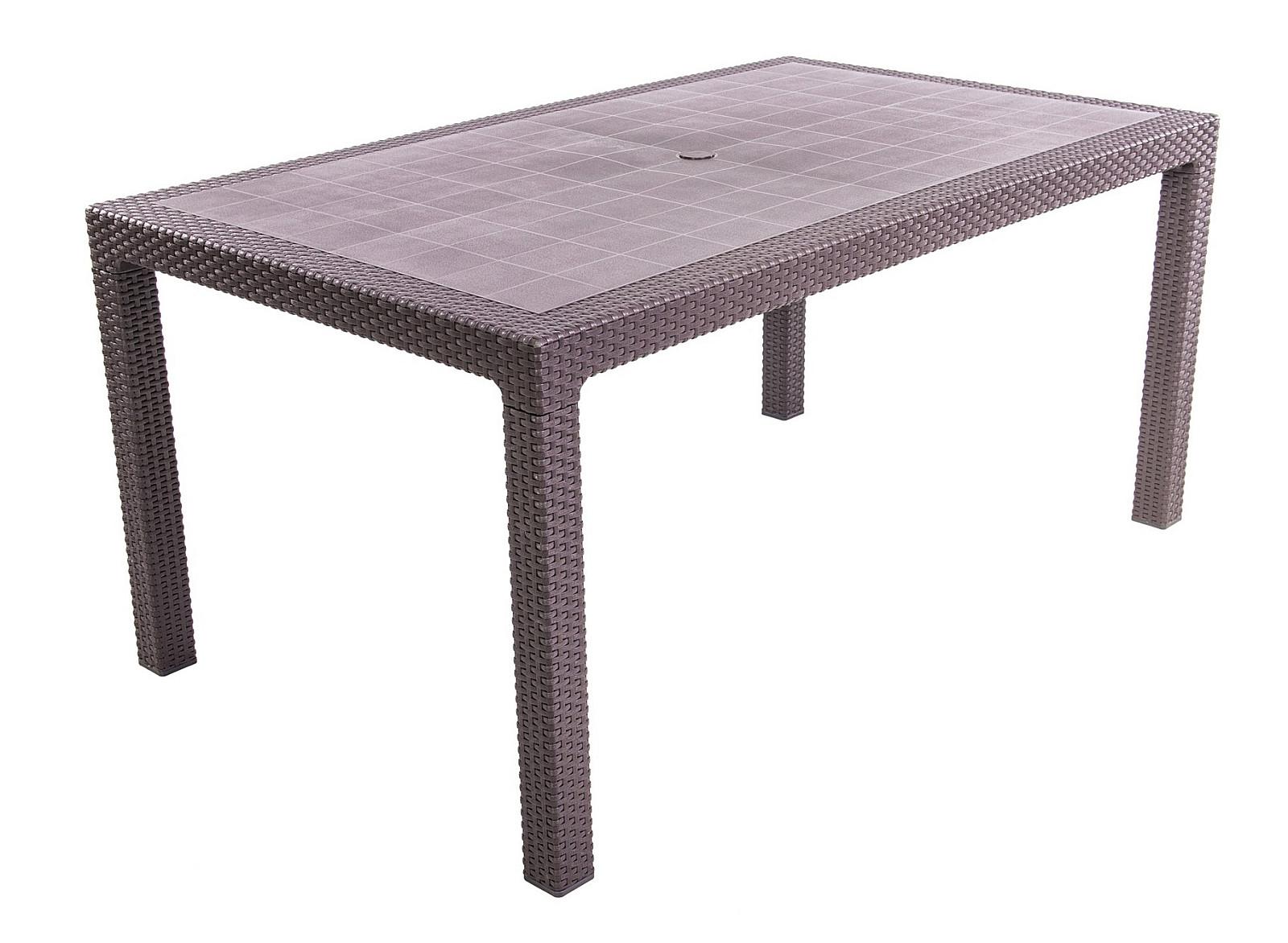 DEOKORK Záhradný stôl z umelého ratanu MANHATTAN 161x95 cm (hnedý)