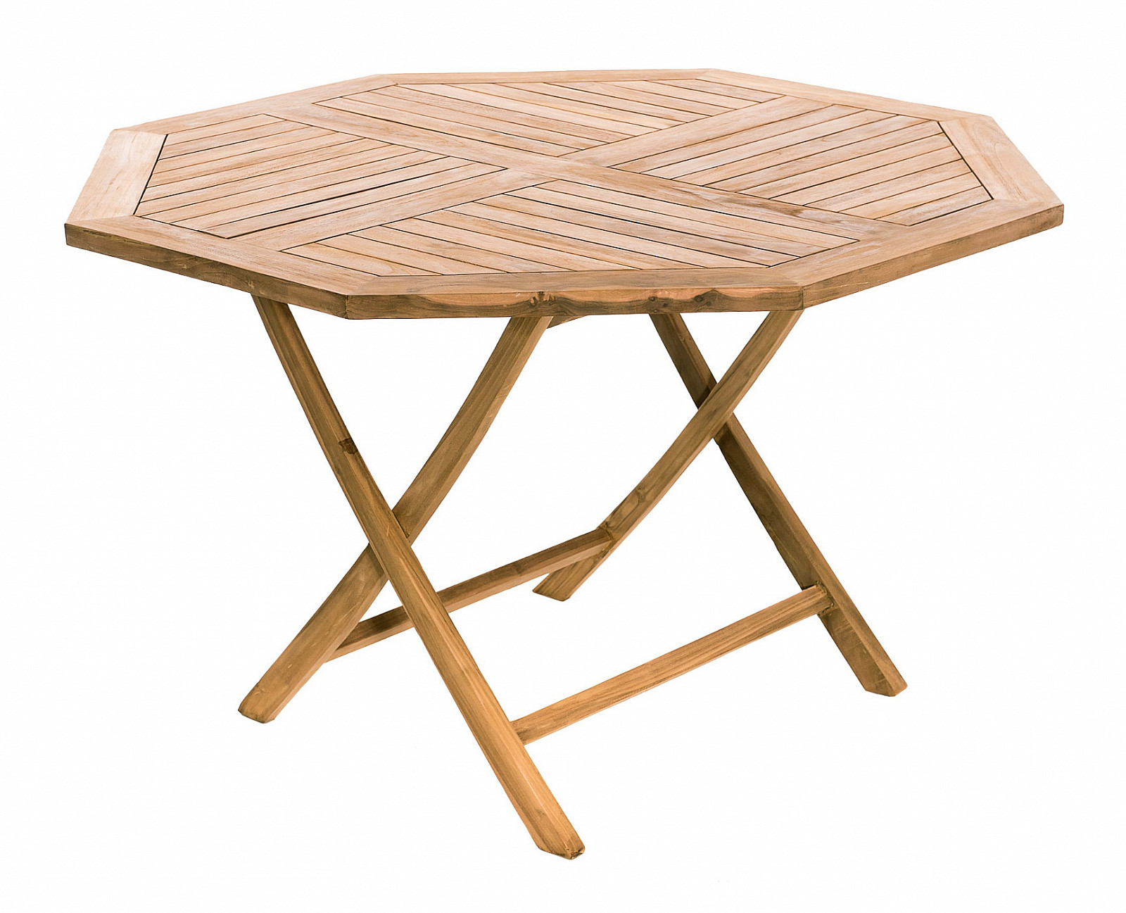 DEOKORK VÝPREDAJ Záhradný skládací stôl osemuholník HAGEN ⌀ 120 cm (teak)
