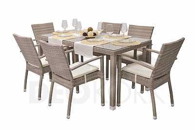 e6172925376f Luxusný zahradný nábytok · Záhradná ratanová zostava NAPOLI II. 1+6  (sivo-béžová)